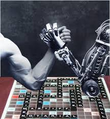 Man and Robot arm westle
