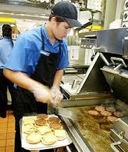 flipping burgers