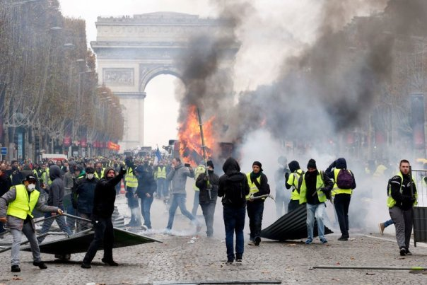 """""""Yellow Vests- Gilets Jaunes"""" Protest Against The Rise Of Fuel Oil Prices In Paris"""