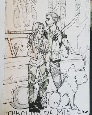 """York"" and ""Talitha"" in a Supernatural-esque world (with his dog, and a snazzy 1962 Ford Falcon station wagon)."