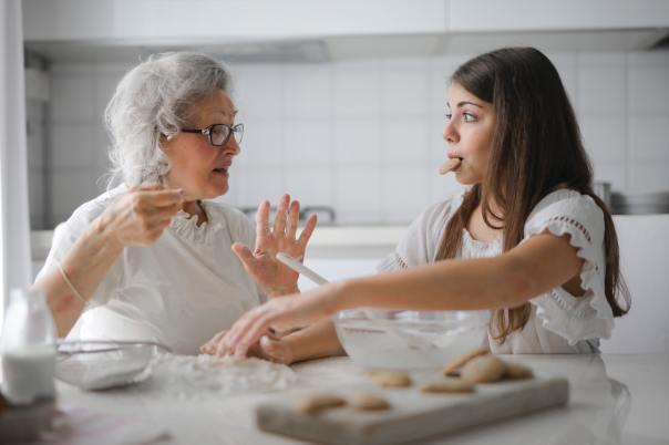 grandma granddaughter talking